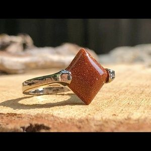 "natural healing gems Jewelry - Goldstone ""Diamond in the Rough"" Ring size 7"